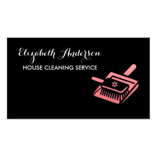 Girly Broom Pink and Black House Cleaning Service Business Card