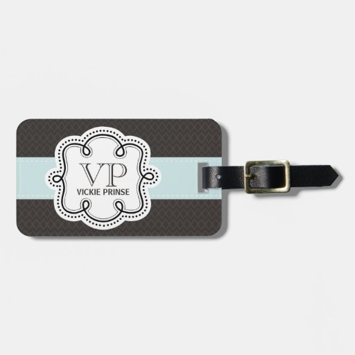 Girly Brown and Blue Pattern Doodle Monogram Travel Bag Tag