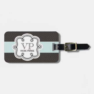 Girly Brown and Blue Pattern Doodle Monogram Tag For Luggage
