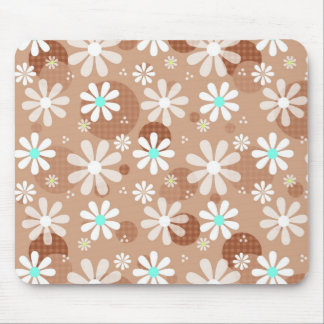 Girly Brown Daisy Flower Pattern Cute Aqua Dots Mouse Pad