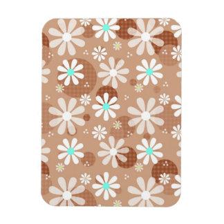 Girly Brown Daisy Flower Pattern Cute Aqua Dots Magnets