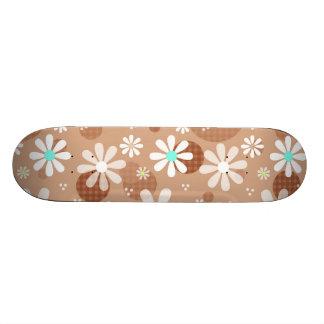 Girly Brown Daisy Flower Pattern Cute Aqua Dots Skateboard Deck