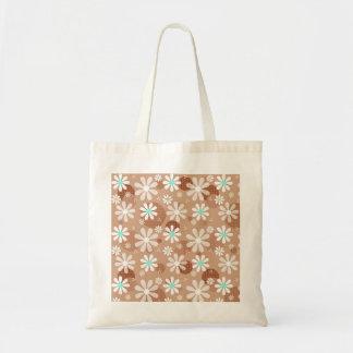 Girly Brown Daisy Flower Pattern Cute Aqua Dots Tote Bag