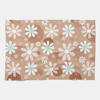 Girly Brown Daisy Flower Pattern Cute Aqua Dots Towel
