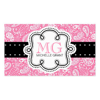 Girly Bubble Gum Pink  Paisley Calling Card Business Card