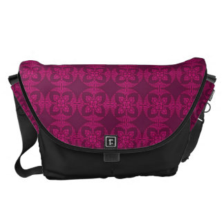 Girly Burgundy and Pink Geometric Floral Courier Bag
