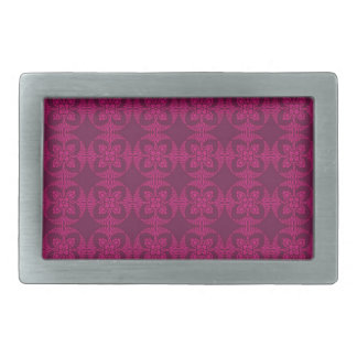 Girly Burgundy and Pink Geometric Floral Rectangular Belt Buckle