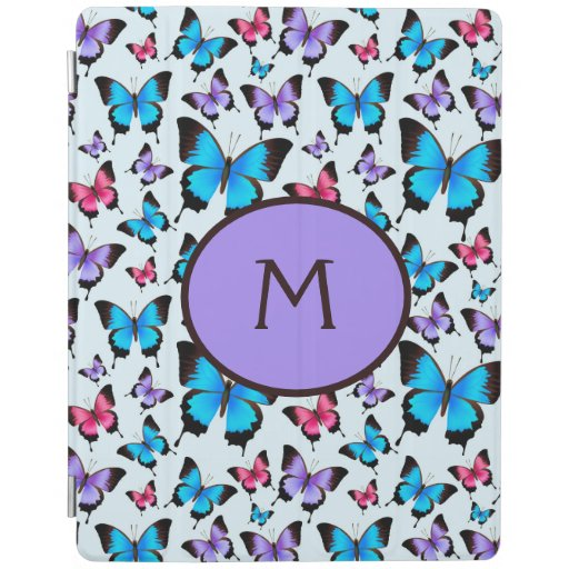 Girly Butterflies Pink Lilac Teal iPad Smart Cover