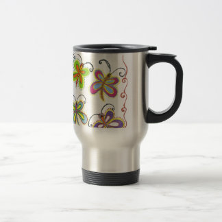 Girly Butterfly 15 Oz Stainless Steel Travel Mug