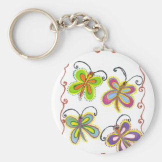 Girly Butterfly Basic Round Button Keychain