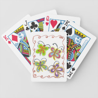 Girly Butterfly Bicycle Playing Cards