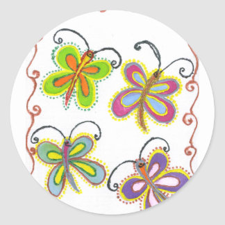 Girly Butterfly Classic Round Sticker