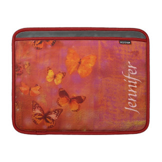 Girly Butterfly Collage on Orange and Pink MacBook Sleeve