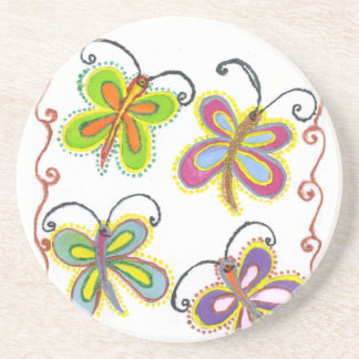 Girly Butterfly Drink Coaster