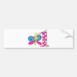 Girly Butterfly First Birthday Bumper Sticker
