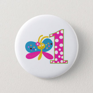 Girly Butterfly First Birthday Button