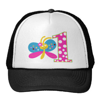 Girly Butterfly First Birthday Mesh Hats