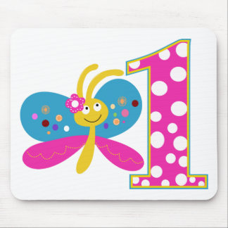 Girly Butterfly First Birthday Mouse Pad
