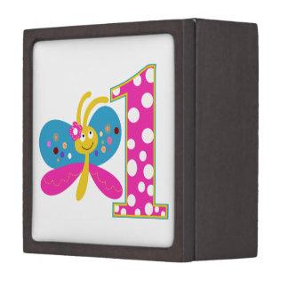 Girly Butterfly First Birthday Premium Trinket Box