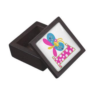Girly Butterfly First Birthday Premium Jewelry Box
