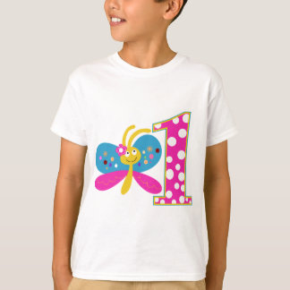 Girly Butterfly First Birthday T-Shirt