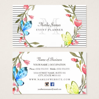 Girly Butterfly Floral and Stripes Event Planner Business Card
