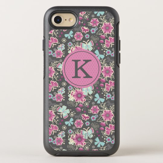 timeless design 67f8e 9a7f6 Girly, Butterfly, Floral Monogram Cell Phone Case