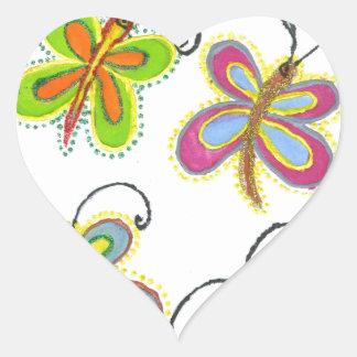 Girly Butterfly Heart Sticker