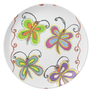 Girly Butterfly Melamine Plate