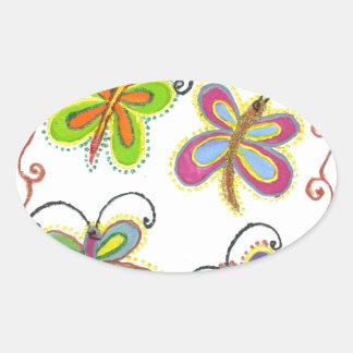 Girly Butterfly Oval Sticker
