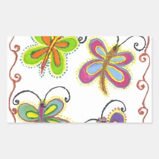 Girly Butterfly Rectangular Sticker