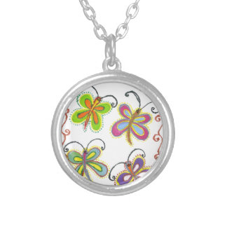 Girly Butterfly Round Pendant Necklace