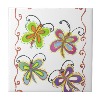 Girly Butterfly Small Square Tile