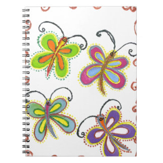 Girly Butterfly Spiral Note Book