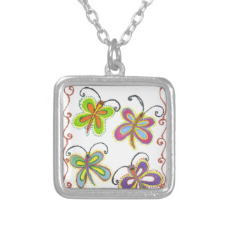 Girly Butterfly Square Pendant Necklace