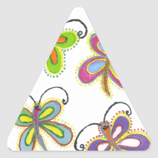 Girly Butterfly Triangle Sticker