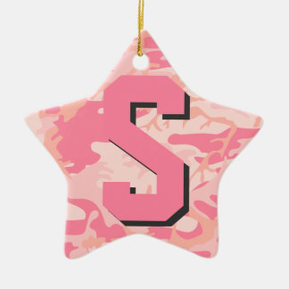 Girly Camo Pink Camouflage Initial Monogram Star Christmas Tree Ornament