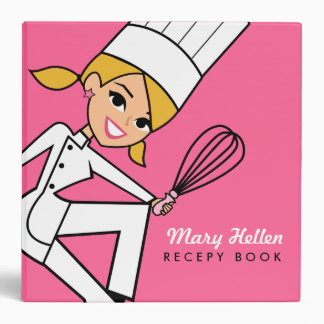 Girly Cartoon Chef Recipe Binder
