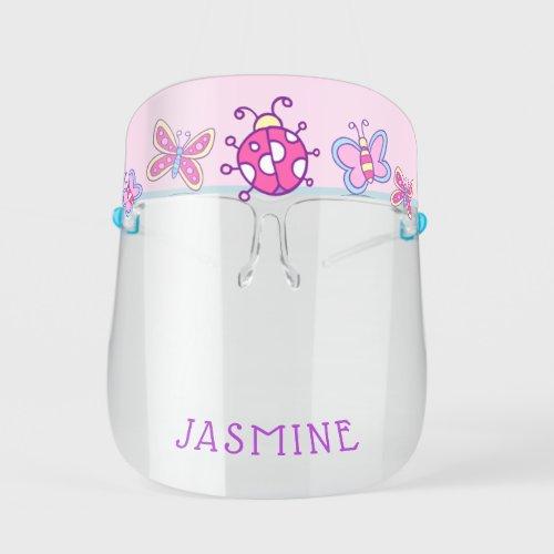 Girly Cartoon Pink Ladybug Butterflies Kids Face Shield