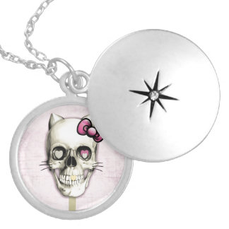 Girly cat skull lollipop silver plated necklace