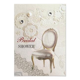 girly chandelier Rococo paris bridal shower Card