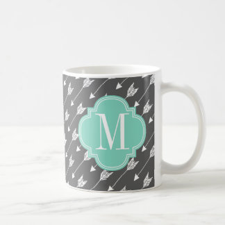 Girly Charcoal & Aqua Arrows Custom Coffee Mug