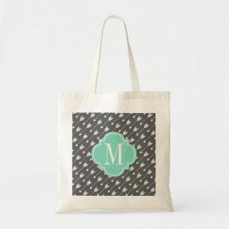 Girly Charcoal & Aqua Arrows Custom Tote Bag