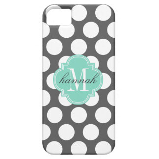 Girly Charcoal & Aqua Big Dots Monogrammed iPhone SE/5/5s Case