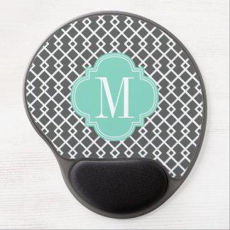 Girly Charcoal & Aqua Diamond Lattice Personalized Gel Mouse Pad