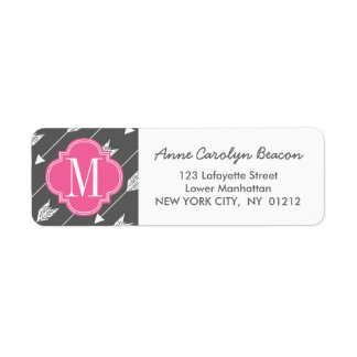 Girly Charcoal & Pink Arrows Custom Label