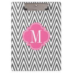 Girly Charcoal & Pink Chevron Stripes Custom Clipboard