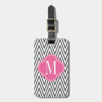 Girly Charcoal & Pink Chevron Stripes Custom Bag Tags