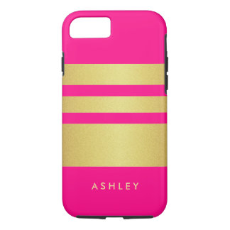 Girly Charming Pink Gold Glitter Stripes Pattern iPhone 7 Case