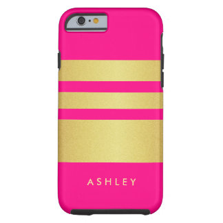 Girly Charming Pink Gold Glitter Stripes Pattern Tough iPhone 6 Case
